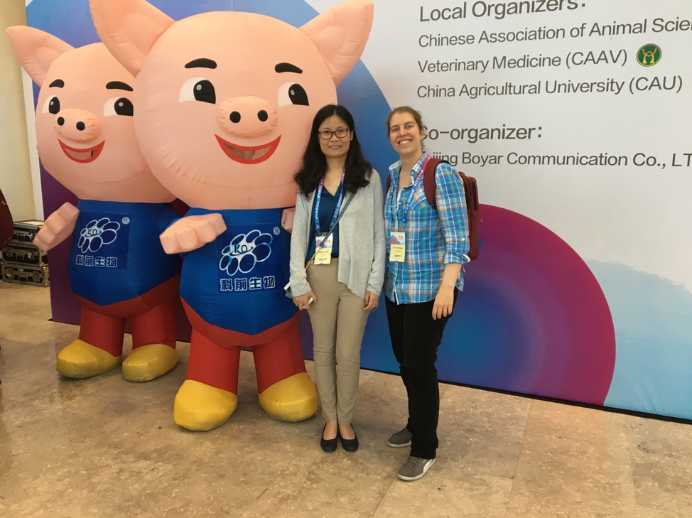 Dr. Beatriz Martinez Lopez (UC Davis-CADMS) and Dr. Yingjuan Qian (Nanjing Agricultural University) at the 2018 International Pig Veterinary Society Congress in Chongching, China